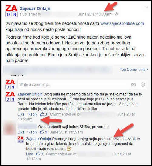 fb obavestenje sajt ne radi